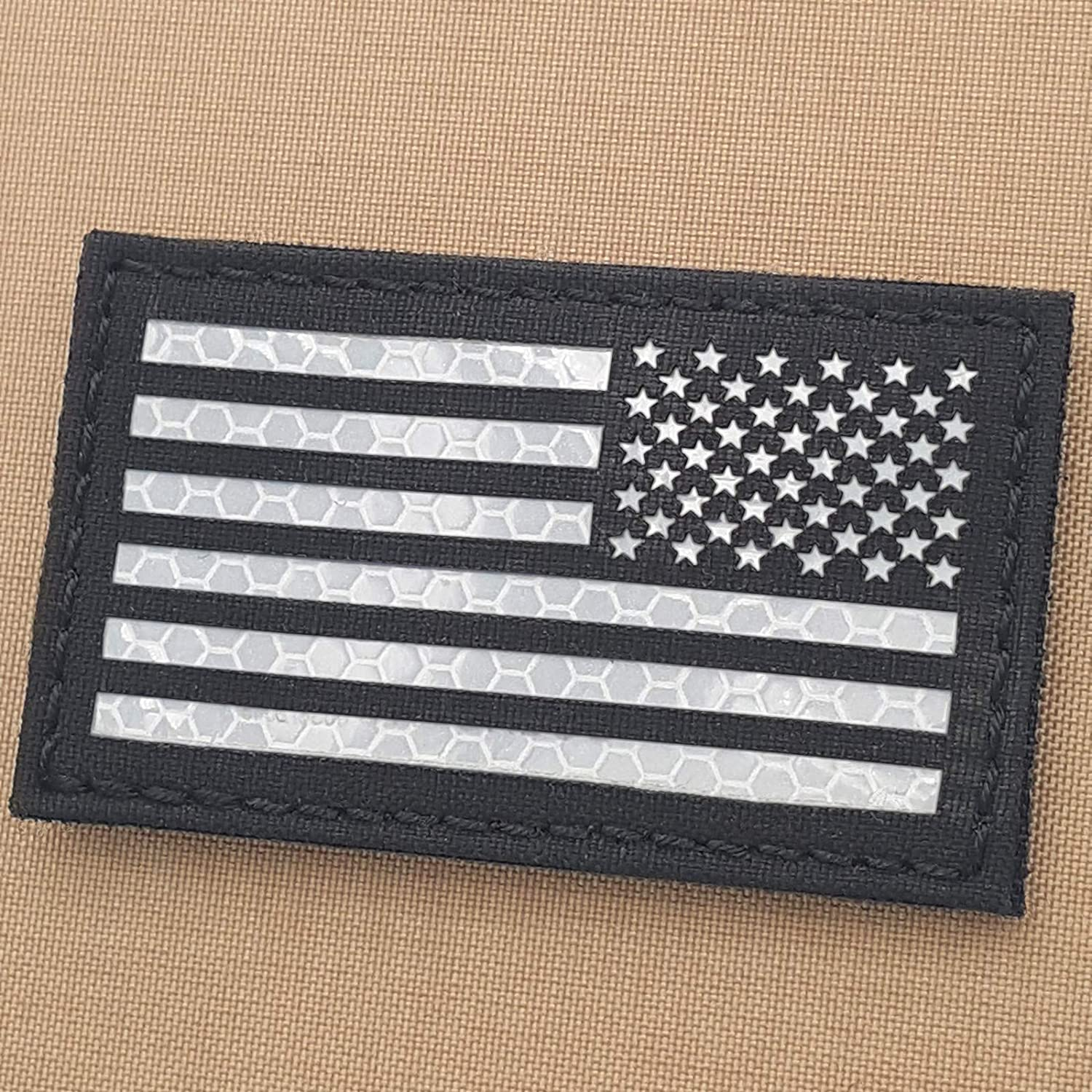 Black and White USA America Reversed Flag 2x3.5 Solas Reflective SAR Right Shoulder Tactical Patch