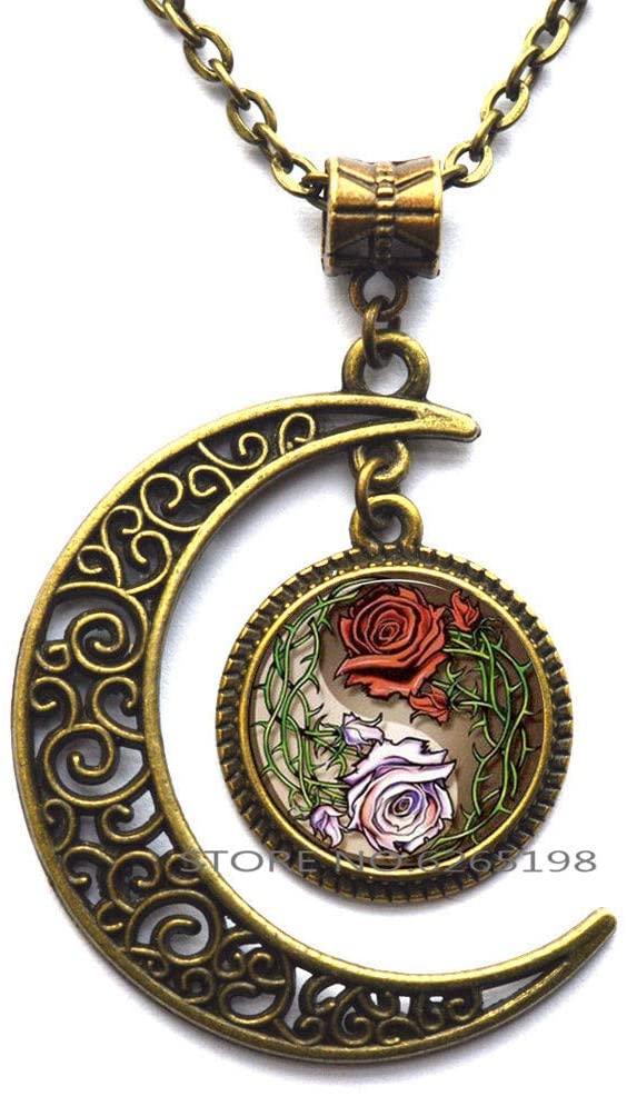 Yin Yang Roses Flowers Pendant, Yin Yang Roses Flowers Necklace,Yin Yang Roses Flowers Jewelry,Art Pendant Necklace Jewelry,N083