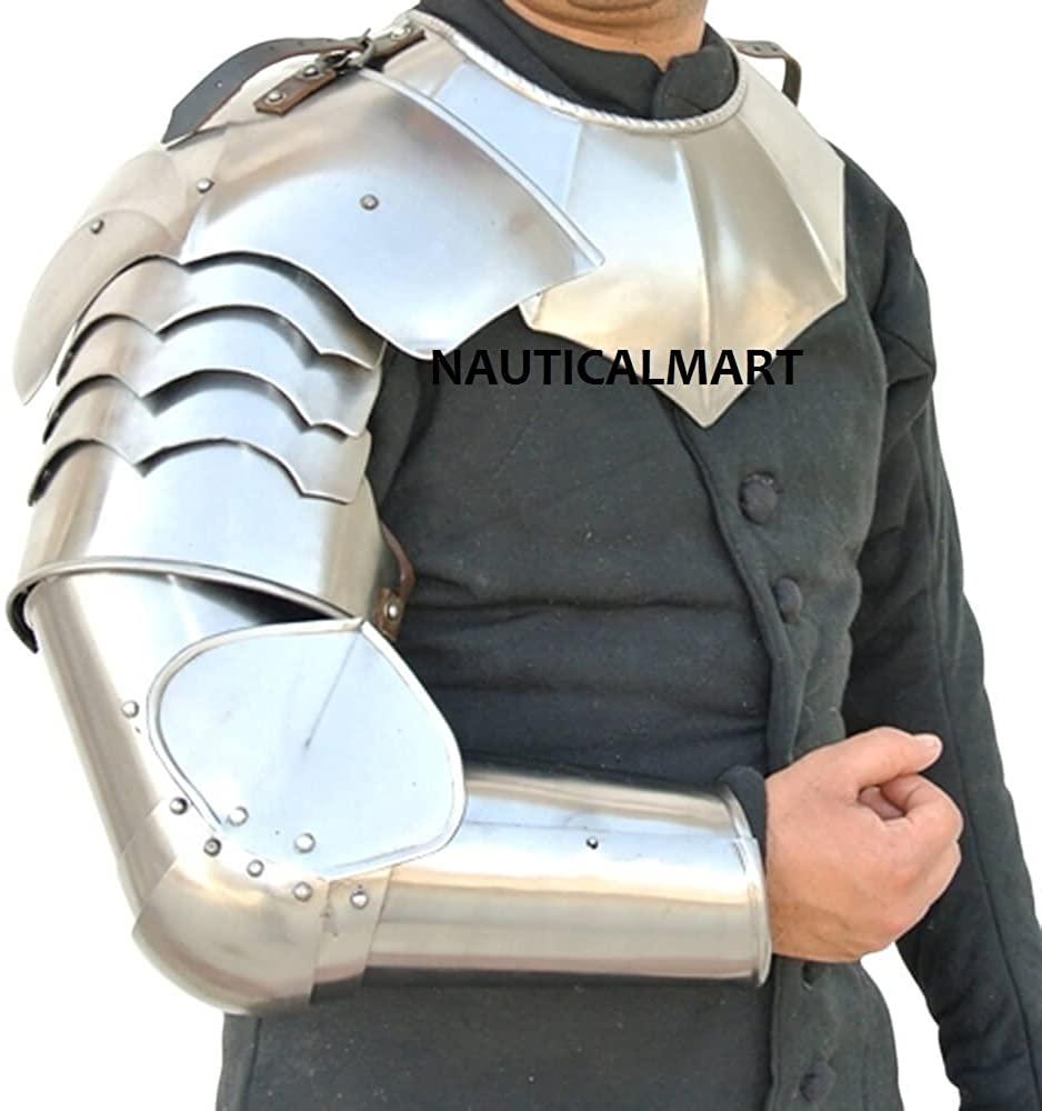 NauticalMart Arms Armor with Asymmetrical Pauldrons Steel Warrior Armor