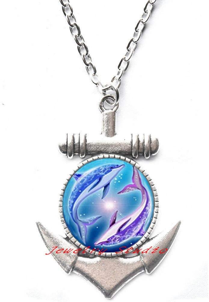 Dolphin Anchor Necklace - Dolphin Pendant - Dolphin Jewelery - Dolphin Gift - Dolphin - Dolphins - Dolphins Anchor Necklace - Animal Anchor Necklace-HZ0012