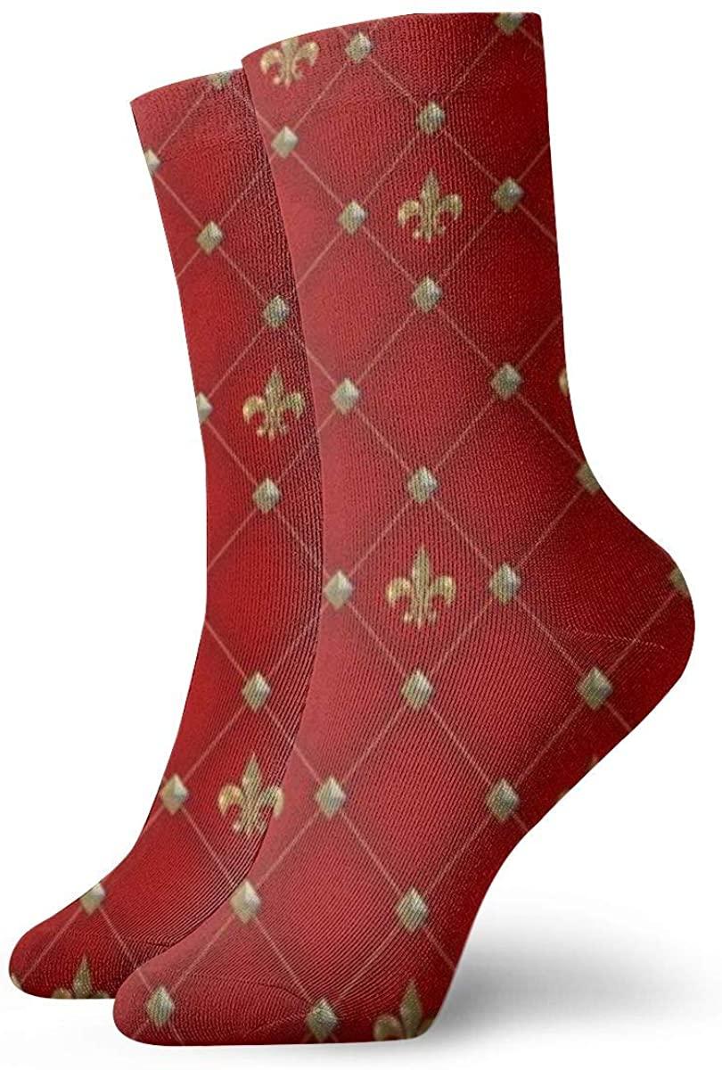 Vintage Fleur De Lis On Deep Rich Red Pattern Cute Novelty Athletic Socks Hiking Walking Socks Outdoor Recreation Socks Wicking Cushion Crew Socks Mid Calf Design All season