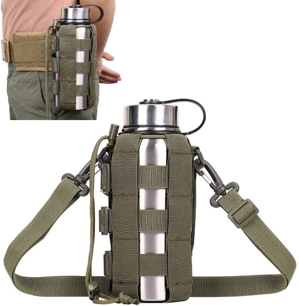ATBP Sports Water Bottles Pouch Bag, Tactical Drawstring Molle Mesh Water Bottle Holder Waist Fanny Pack Hydration Carrier for Travel