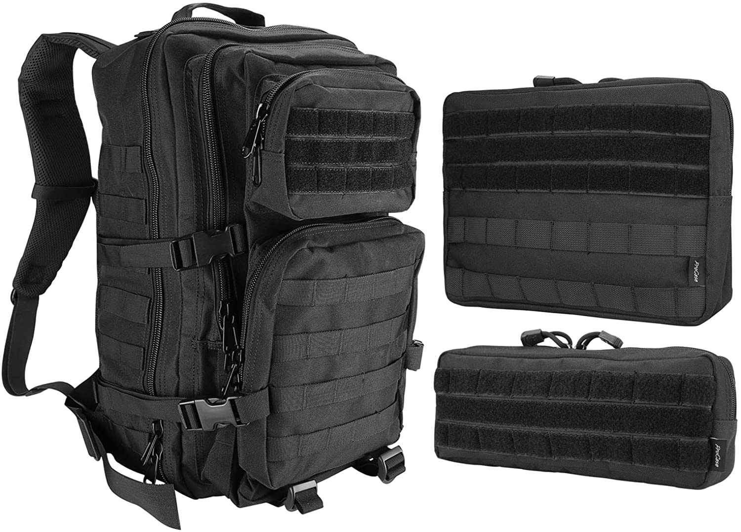 ProCase Tactical Backpack Bag 40L Large Bundle with 2 Versatile Molle Admin Pouch EDC Carry Bags for Magazine, Map and Other Small Tools -Black
