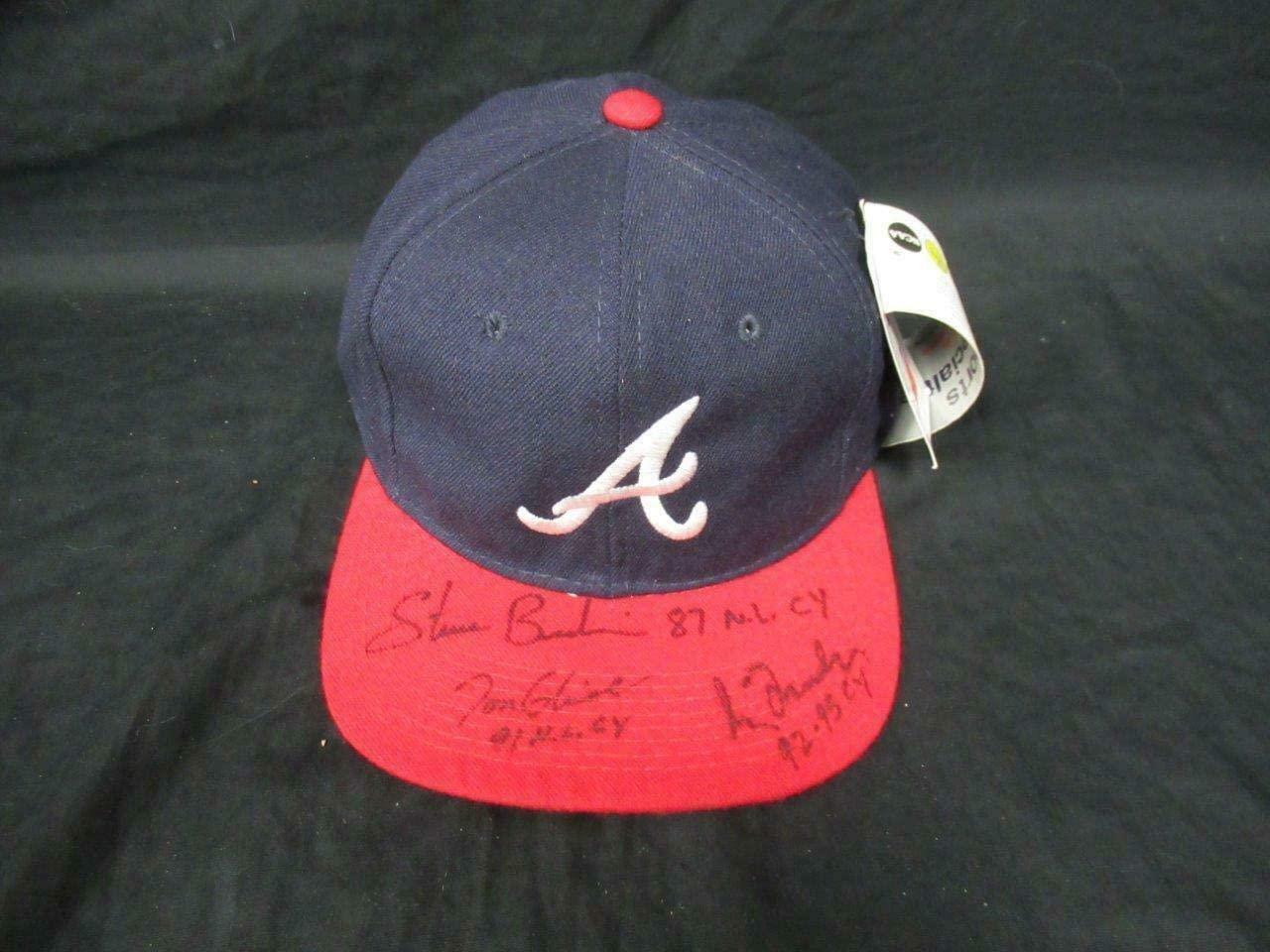 Glavine Maddux Bedrosian Multi-Signed Atlanta Braves Hat Auto AG00937 - PSA/DNA Certified - Autographed Hats