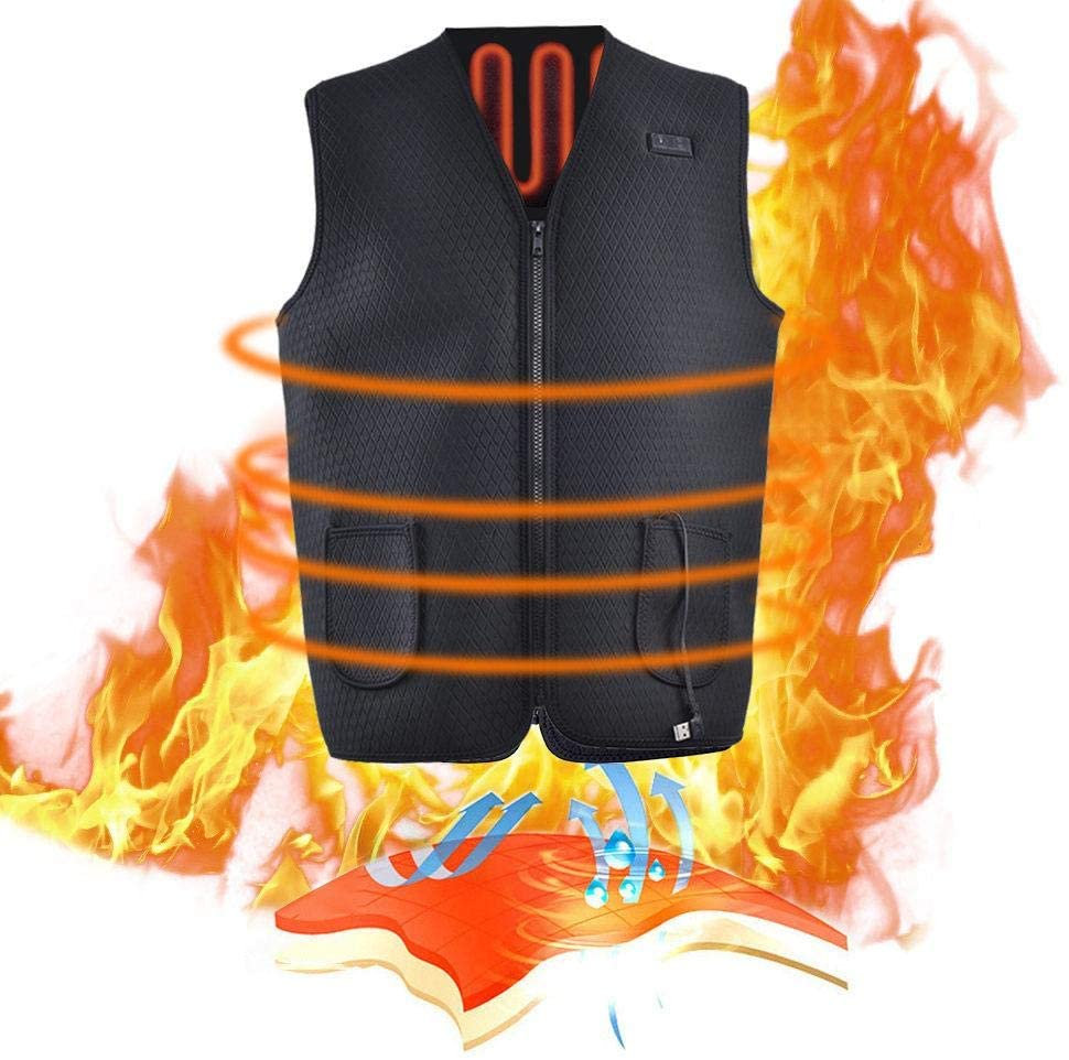 LLDWORK Heated Vest Electric Heated Gilet Heated Jacket Heating Clothing USB Charging for Men Women Winter Skiing Fishing Motorcycle Hiking Travel - 3 Heating leavels