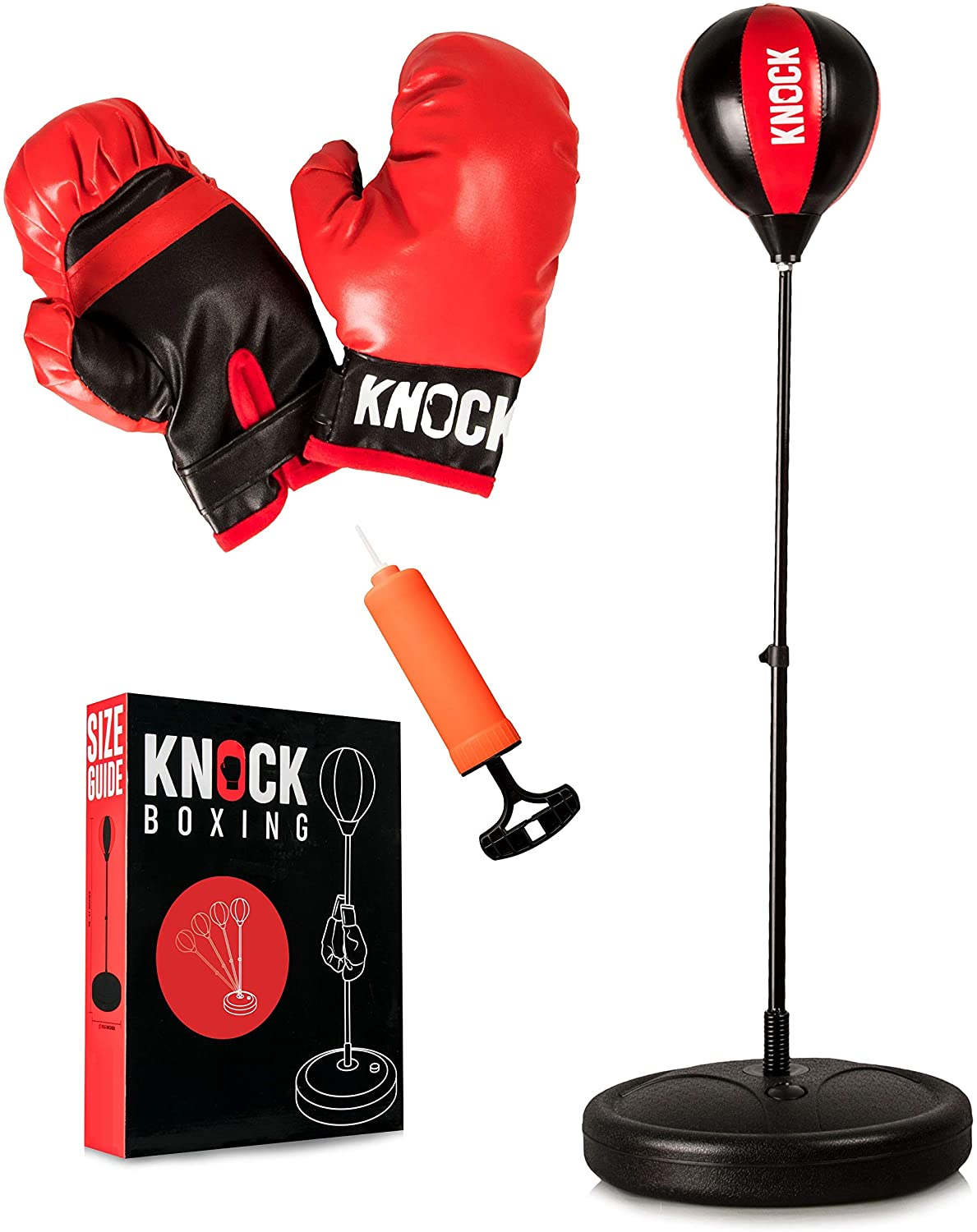 Indoor Punching Bag for Kids - Home Gym Youth Workout Equipment - Complete Boxing Set Includes Gloves & Small Pump - Free Standing Bag with Adjustable Height - Great Gift Idea for Boys or Girls