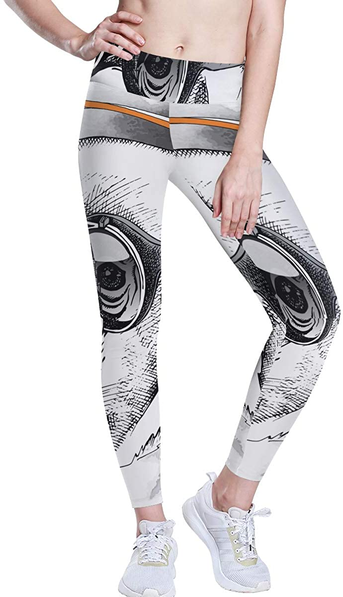 BHRETI Women's Leggings, Cute Giraffe Music DJ Yoga Pants, Yoga Long Trousers Yoga Tights Suitable for Gym Sports Running