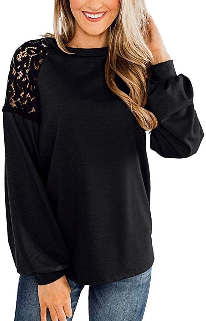 Meikosks Womens Elegant Shirt Lace Raglan Top Long Sleeve Crewneck Blouses Fashion Pullove