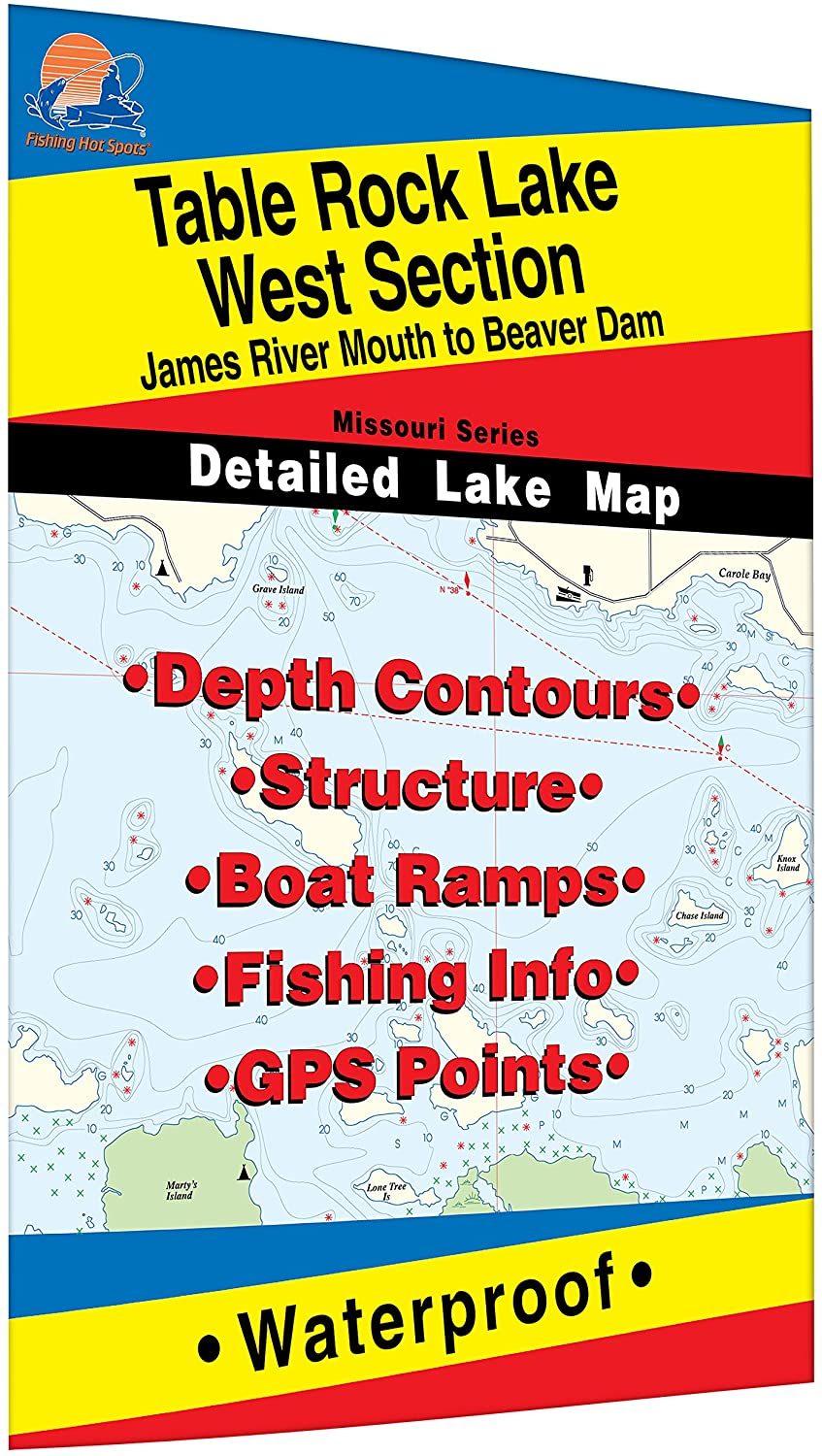 Table Rock Lake-West (James River Mouth to Beaver Dam) Fishing Map
