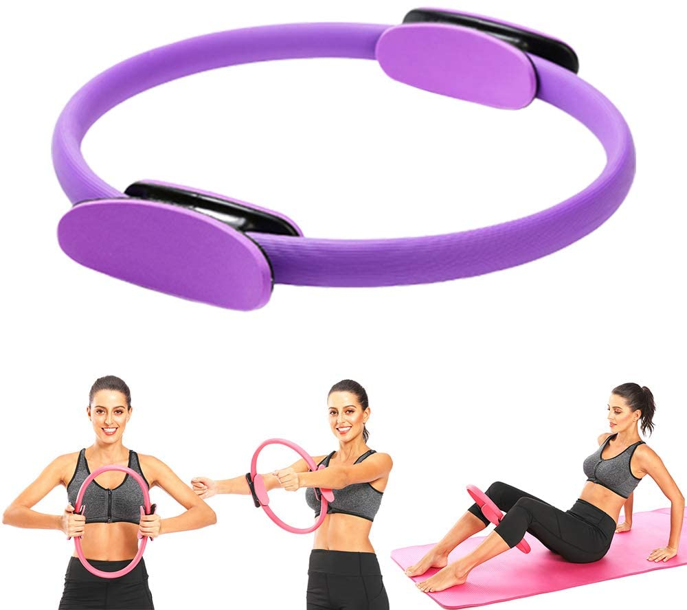 Pilates Ring - Yoga Ring Premium Full Body Toning Fitness Magic Circle for at Home Body Sculpt Resistance Training- Leg, Inner Thigh, Arm Workout,Gym training Fitness Circle (Purple)