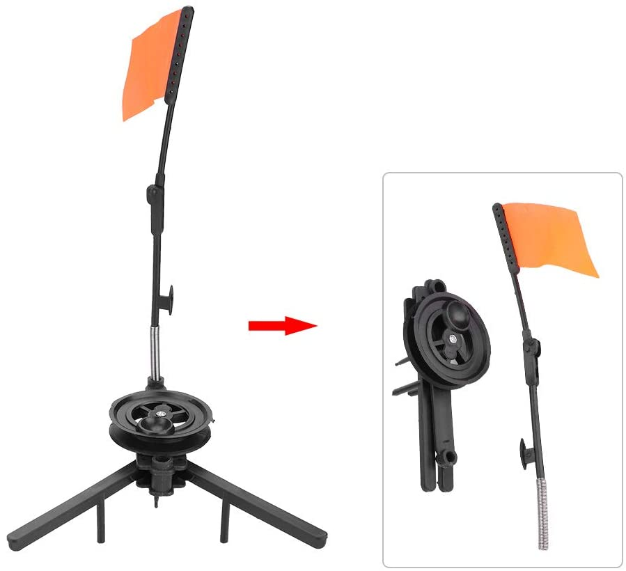 Dioche Ice Fishing Rod Tip-Ups, Hands-Free Compact Metal Fish Pole Orange Flag Angler Accessory