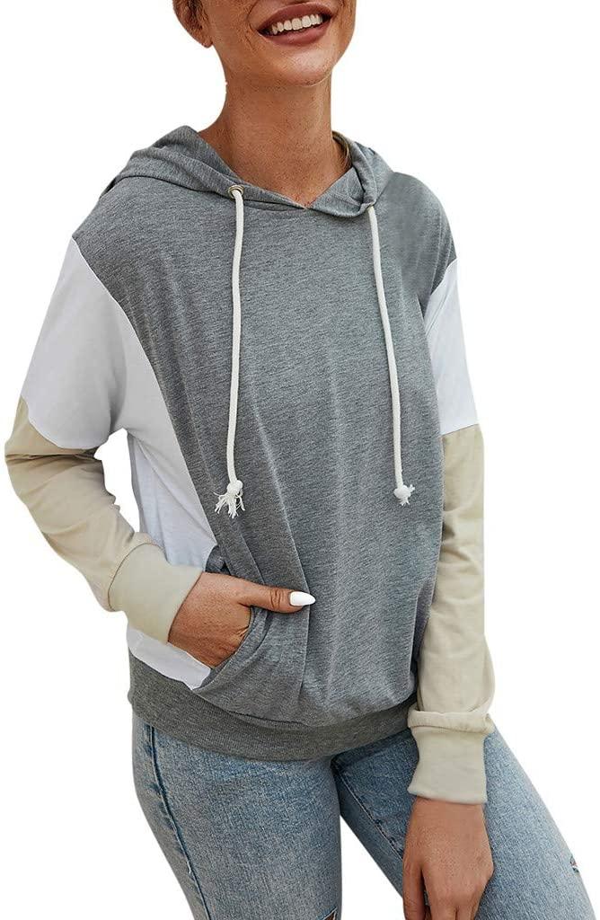 Lataw Women Sweatshirt Hooded Stylish Drawstring Casual Splice Long Sleeve Pullover Pocket Sweater Soft Tops Sporty Blouse
