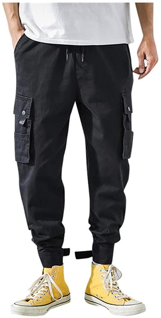 Daorokanduhp Men's Long Camouflage Cargo Pants Comfort Elastic Waist Drawstring Multi Pockets Haren Trousers Overalls