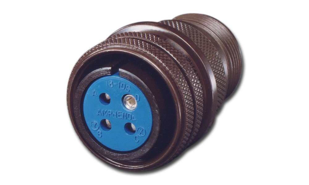 Amphenol Industrial 97-3106A-10SL-4S Circular Connector Socket, Threaded Coupling, Solder Termination, Straight Plug, Solid Backshell, 10SL-4 Insert Arrangement, 10SL Shell Size, 2 Contacts