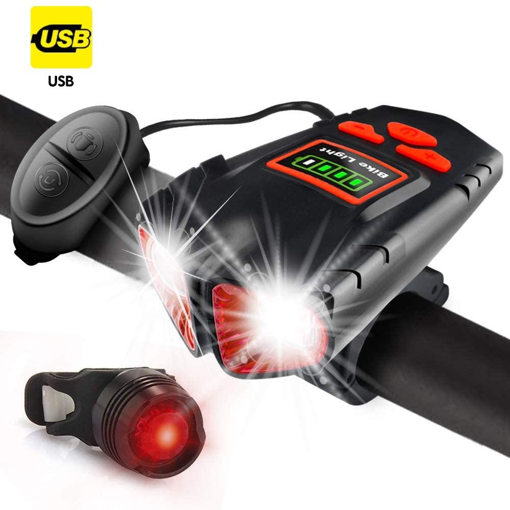 Jowbeam USB Rechargeable Bike Light - 800 Lumens Headlight & Tail Light Set-Bike Bell- Waterproof- Fits All Bicycles, Hybrid, Road, MTB