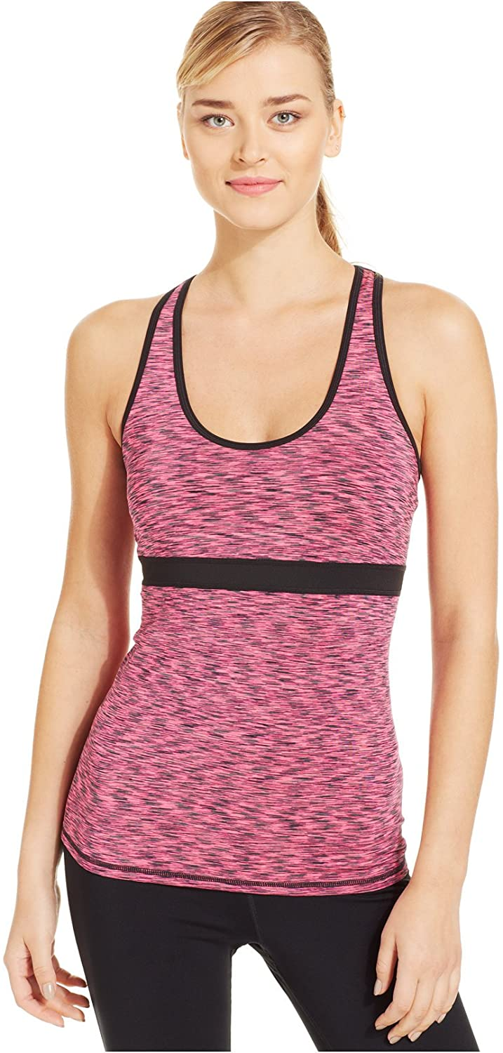 Ideology Space-dye Back-cutout Tank Black Pink Medium
