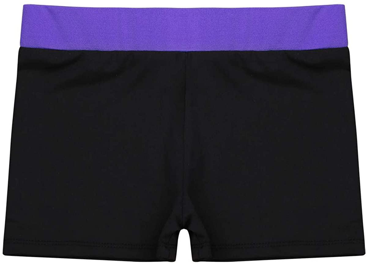 TiaoBug Kids Girls Wide Elastic Waistband Booty Shorts Stretch Fitness Workout Running Yoga Hot Pants Activewear