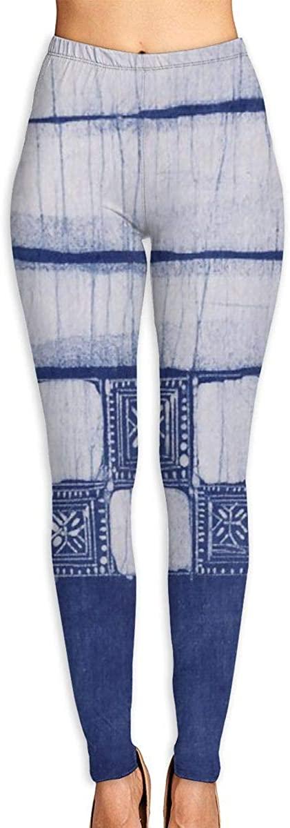 AUISS Girl Yoga Pants Leggings Indigo Blue Batik Running Workout Over The Heel Long Trousers Sports Gym