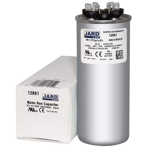 60 + 12.5 uF x 370 or 440 VAC - Jard # 12861 Round Dual Run Capacitor, Sold Each