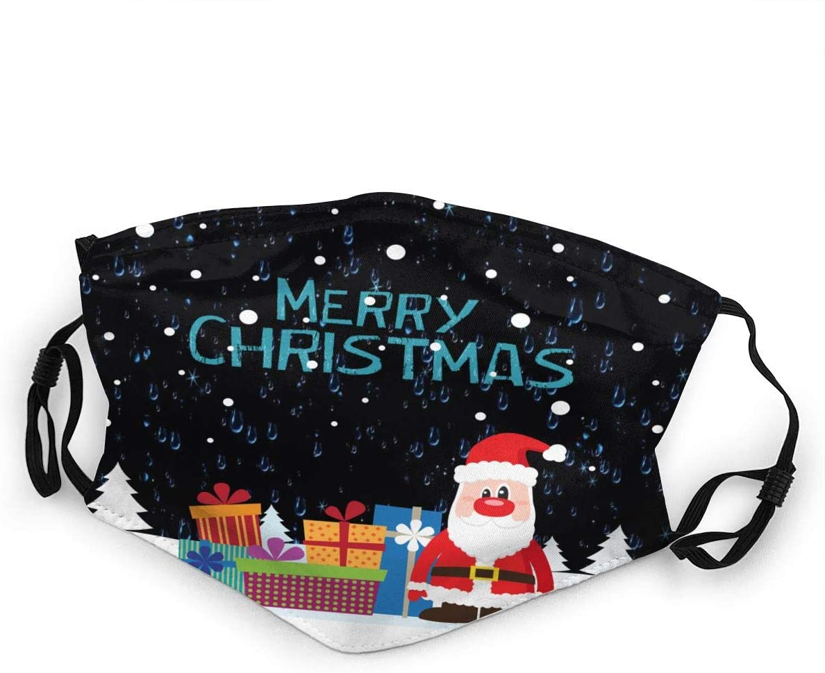 Qwtywqekeertyi Merry Christmas Windproof and Dustproof Suitable for Children Adjustable Cute Cartoon Outdoor Sports Face Scarf Sunscreen Head Scarf