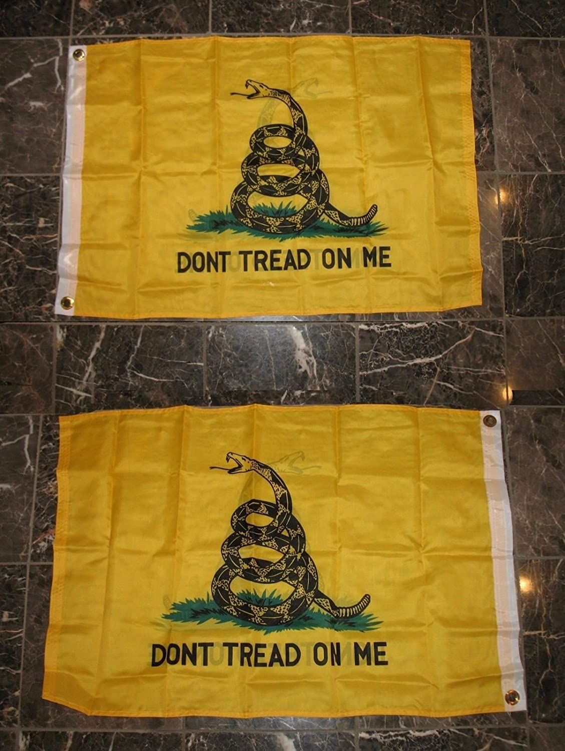 2x3 Gadsden Don't Tread On Me 2 Faced 2-ply Wind Resistant Flag 2'x3' Brass Grommets