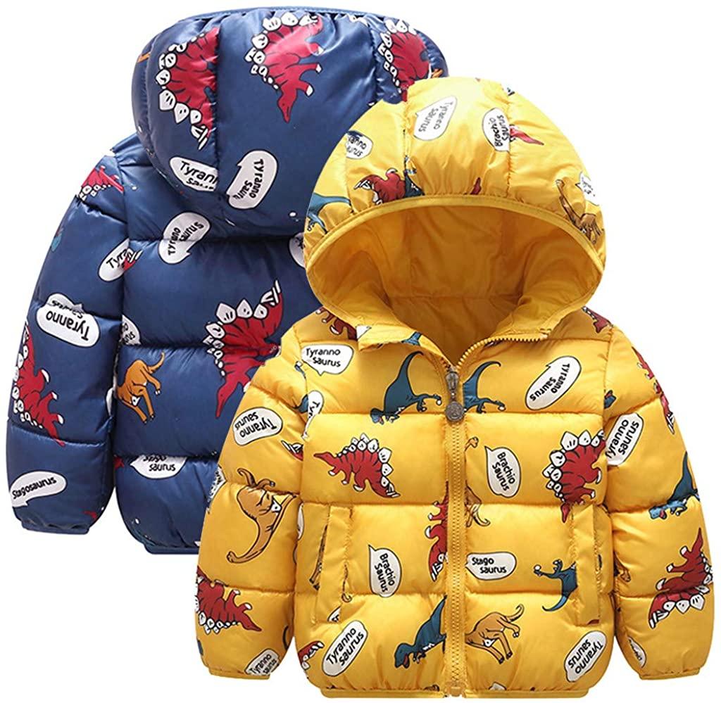 Sameno 2Pcs Junior Kids Toddler Boys Girls 1-5T Cartoon Dinosaur Down Coat Hooded Jacket Thick Warm Cute Snowsuit Outfit