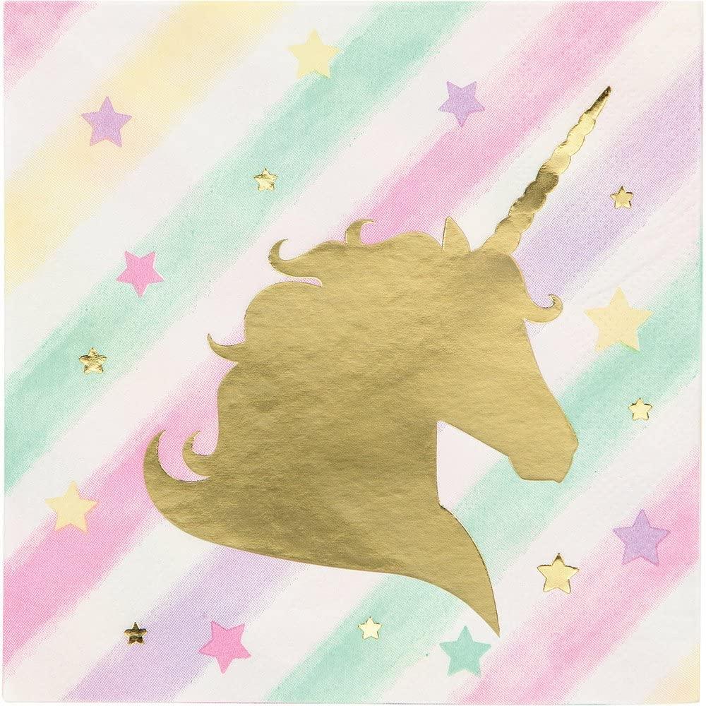 Creative Converting Unicorn Sparkle 192-Count 3-Ply Beverage Paper Napkins