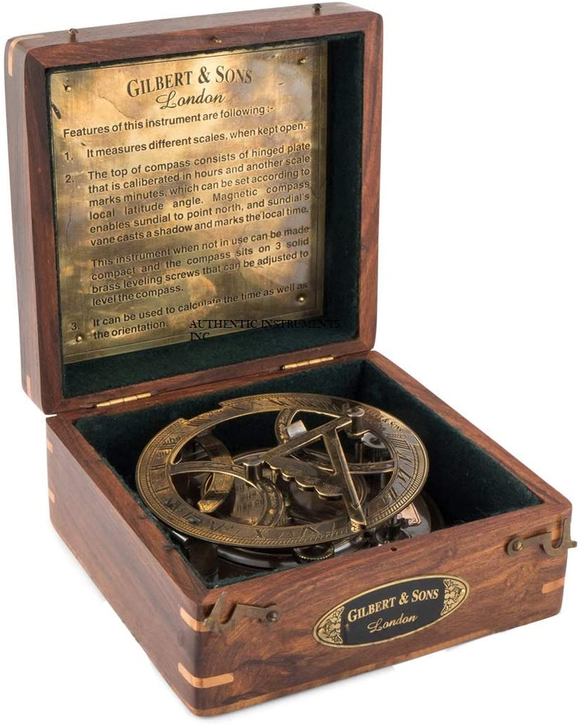 Marine Art Replicas Top Grade 5 Inch Perfectly Calibrated Large Sundial Compass with Wooden Box.