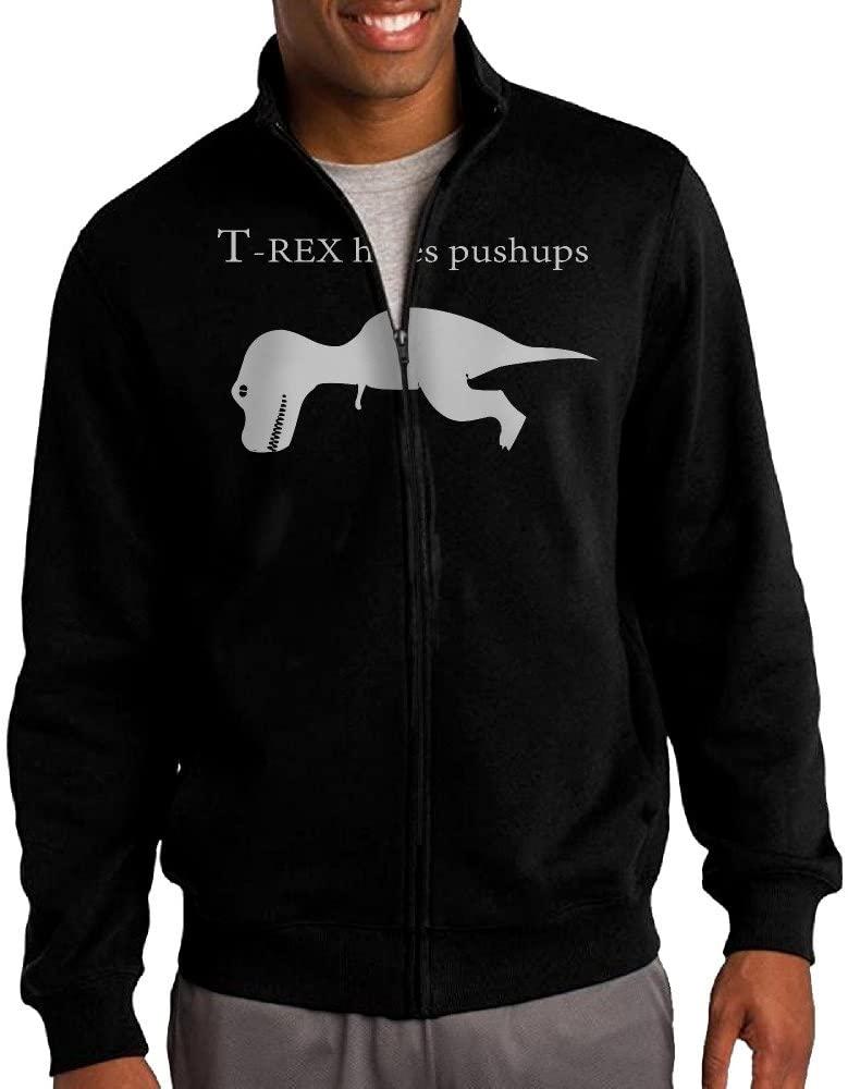 HEHE Men's Zip-up Jacket Hooded Sweater T-Rex Hates Pushups Black
