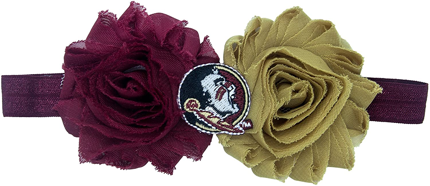 Divine Creations NCAA Florida State Seminoles UnFRAYgettable Flower Baby Headband, One Size, Maroon