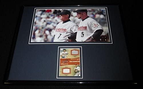 Jeff Bagwell Craig Biggio Framed 11x14 Game Used Pants & Photo Display Astros - Game Used MLB Pants