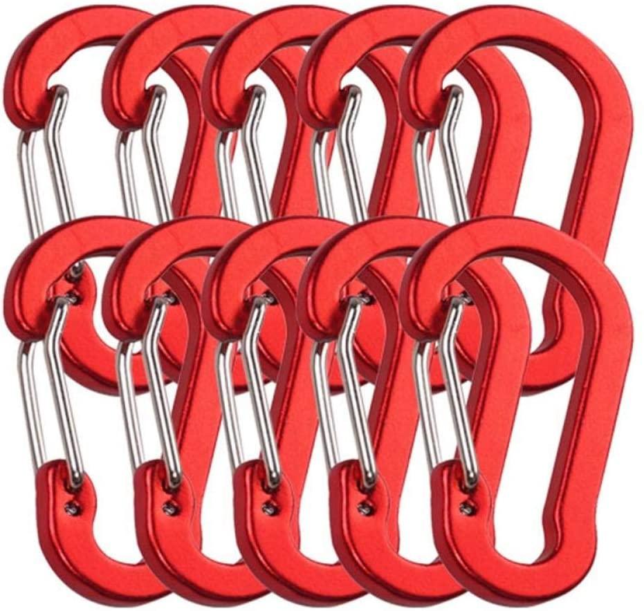 ASIN Safety Harness Rock Climbing Harness Sit Drag 10Pcs Carabiners Aluminum Alloycarabiner Spring Snap Clip Hooks Keychain Climbing Carabiner for Keys Camping Tools-3Pcs