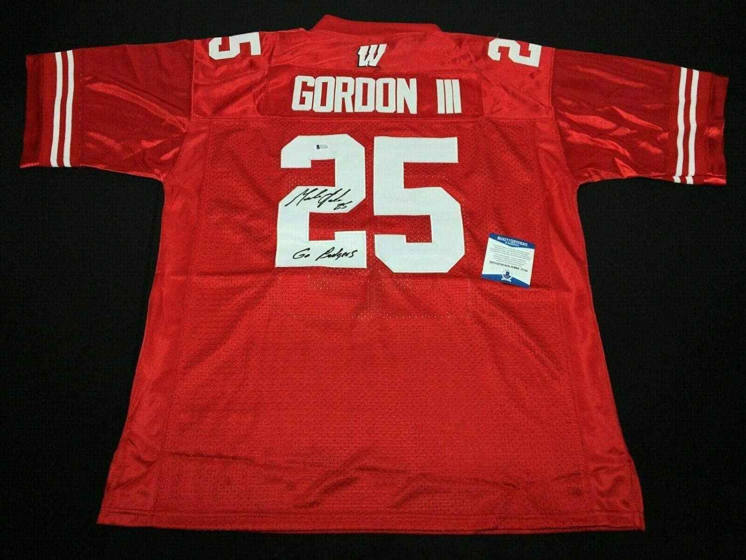 Melvin Gordon Signed Wisconsin Badgers Football Jersey