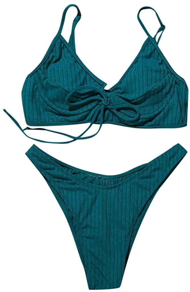 Weiliru Two Pieces Swimsuits for Women Girls Bikini Push-Up Slimming Skinny Bathing Suit Athletic Beach Swimwear