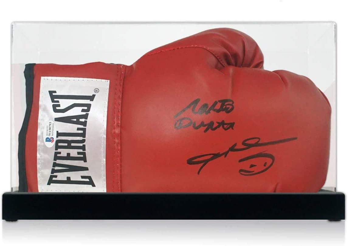 Sugar Ray Leonard And Roberto Duran Signed Red Boxing Glove. In Display Case| Autographed Memorabilia