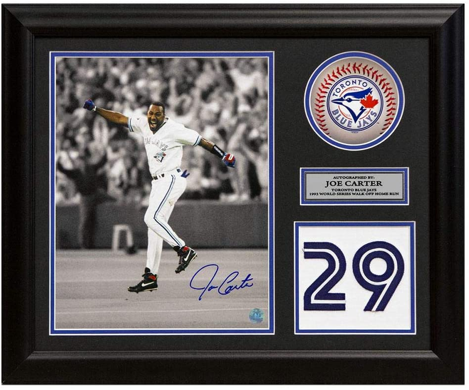 Joe Carter Signed Jersey - World Series Homer Number 23x19 Frame - Autographed MLB Jerseys