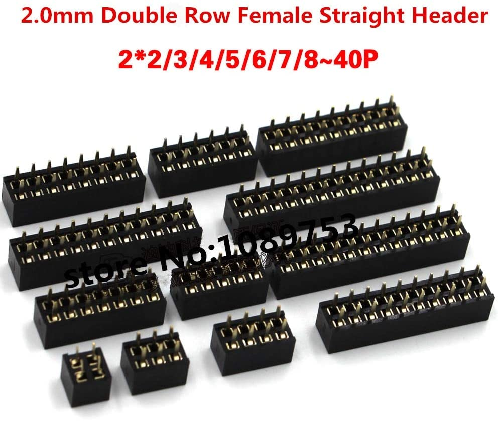 Davitu Electrical Equipments Supplies - 20pcs 2.0mm Double Row Straight Female Pin Header Socket Connector 2x2/3/4/5/6/7/8/9/10/12/14/16/18/20/25/30/40Pin - (Color: 2x5P)