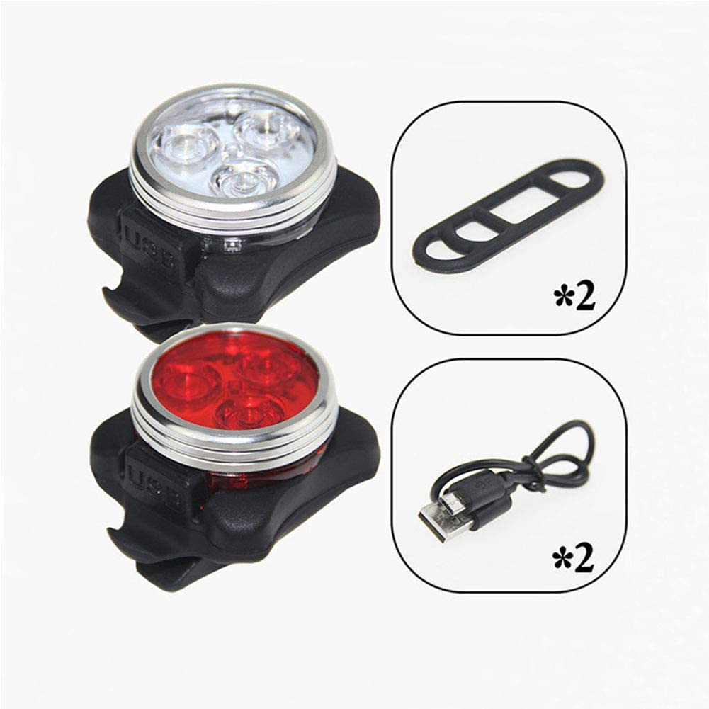 DSstyles 1 Set LED Bicycle Light,Bicycle Lights High Hardness USB Rechargeable Safety Warning Lights