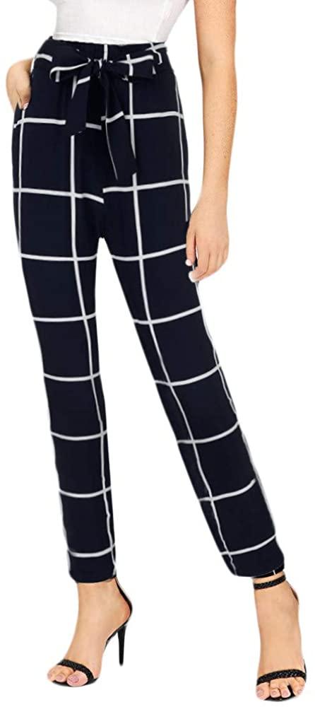 ZEFOTIM Casual High Waist Pants, Womens Elastic Waist Casual Pants Bandage High Waist Lattice Pencil Pants