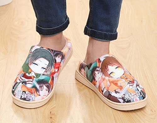 Cosplay Anime Attack on Titan Mens/Womens Slippers Autumn and Winter Thick Home Warm Cotton Slippers/Plush Slippers/Anti-Skid Home House Slippers/Slippers