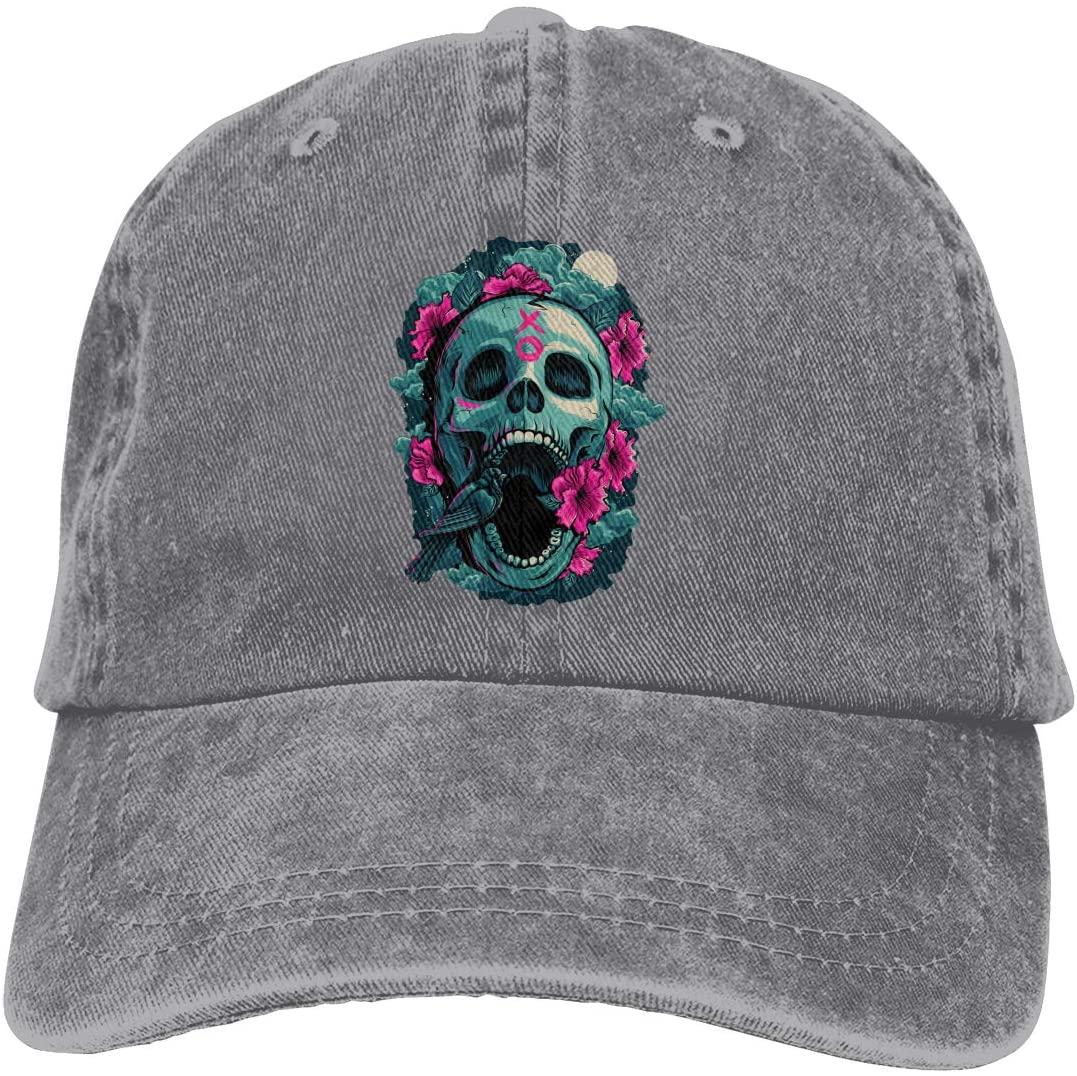 IASIFD Skull Art Unisex Flex-fit Hat Hip Hop Baseball Cap Sun Hat Outdoor Cap Gray