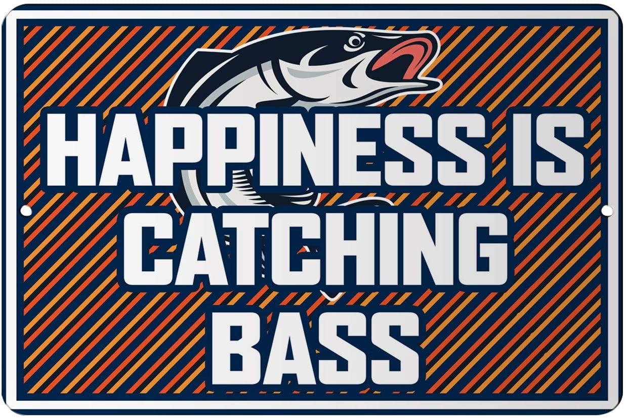 Makoroni - Happiness is CATCHING BASS Fishing Design 12x18 inc Aluminum Decorative Wall Street Sign