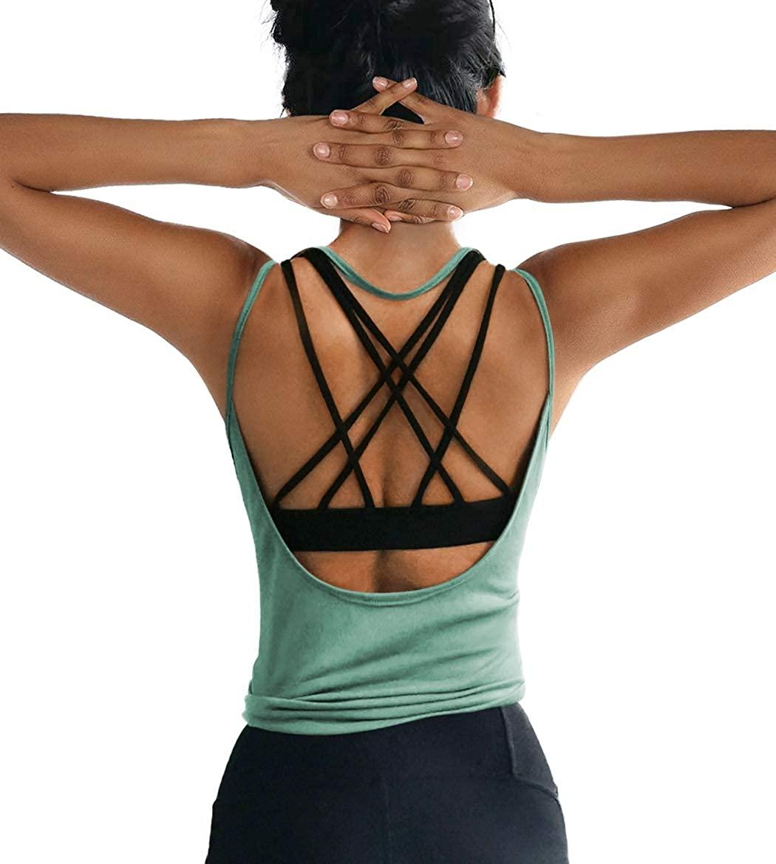 ZJCT Womens Summer Backless Top Workout Shirts Open Back Yoga Tops Sexy Tank Tops