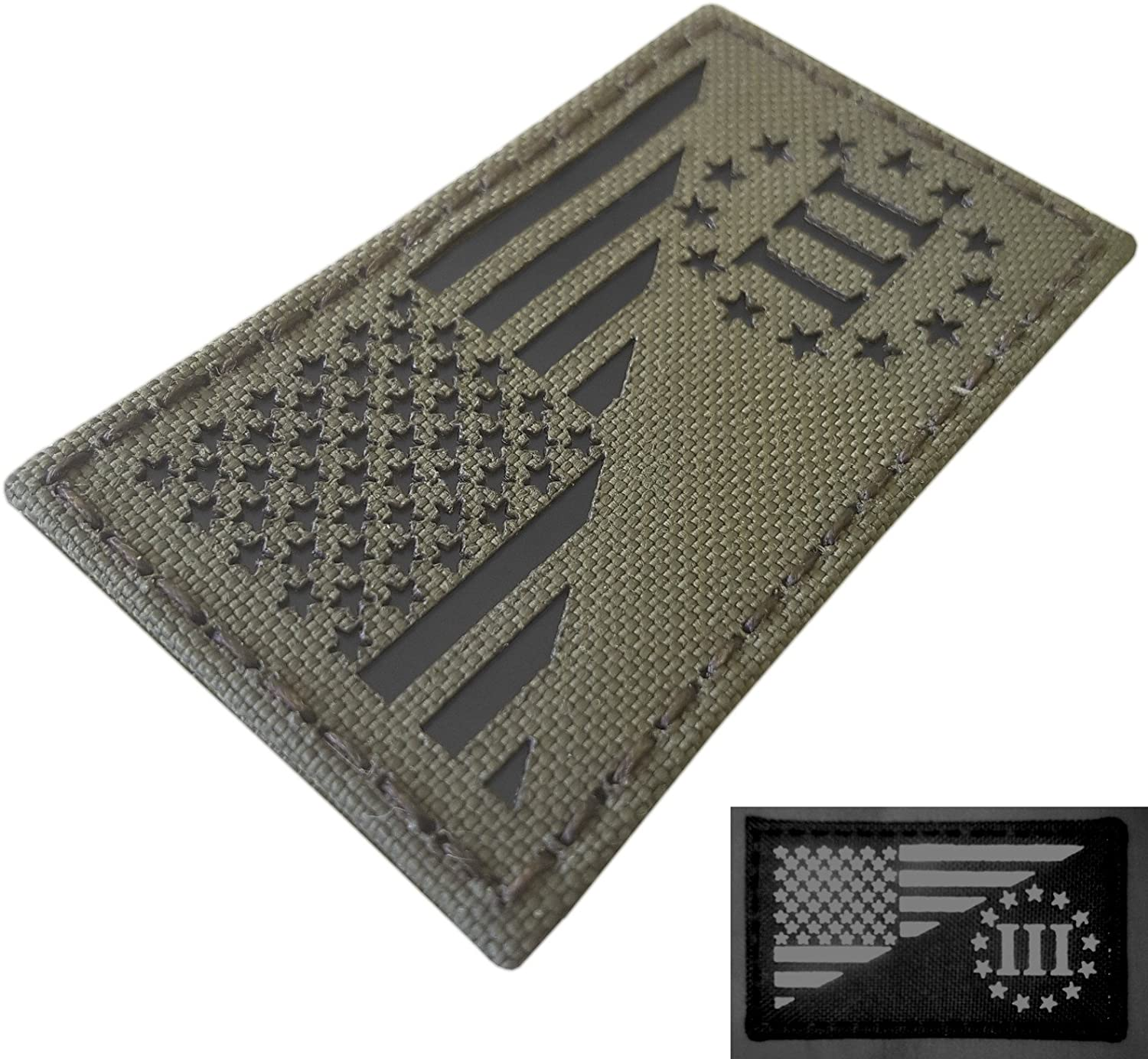 Ranger Green USA Flag Infrared Three Percenter Oathkeeper IR Tactical Morale Hook&Loop Patch