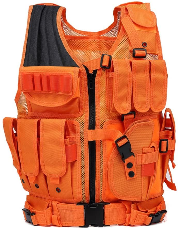 Tactical Vest and Hunting Safety Vest & Airsoft Vest with Blaze Orange Rmovable Holster,Breathable Mesh and Adjustable Size Molle Desgin for Hunting,Outdoors Activity,Combat Tranning,Mountaineering