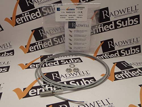 RADWELL VERIFIED SUBSTITUTE OCN10802PA3S2PTFE100CSUB 2M CBL - Replaces HTM PN: OCN1-0802P-A3S2-PTFE-100C, Proximity Sensor - EXT RNG INDUCT, SHLD M8 Thread, 2MM RNG, Short Body, PNP, N/O