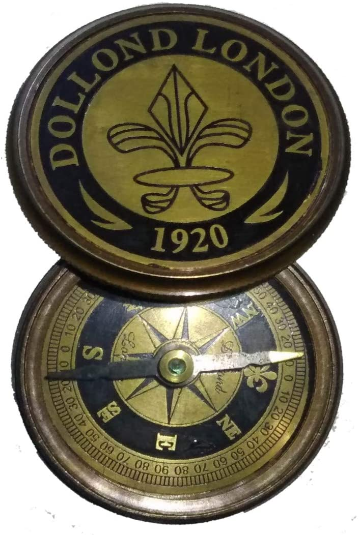 Wave Brass Pocket Poem Compass 1920