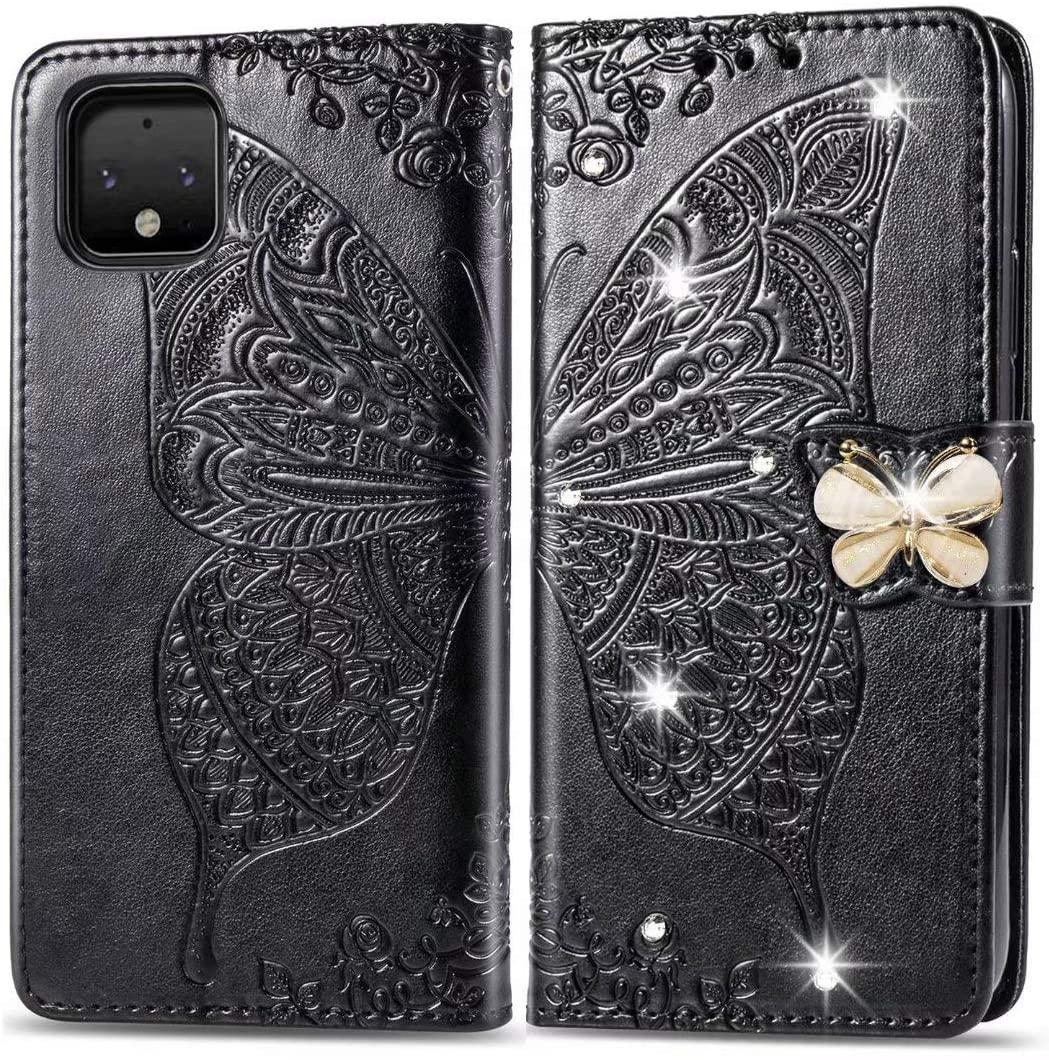 Luckyandery Pixel 4 Case,Pixel 4 Flip Case, PU Leather Stand Card Slots Money Pocket Google Pixel 4 Wallet Case Cover