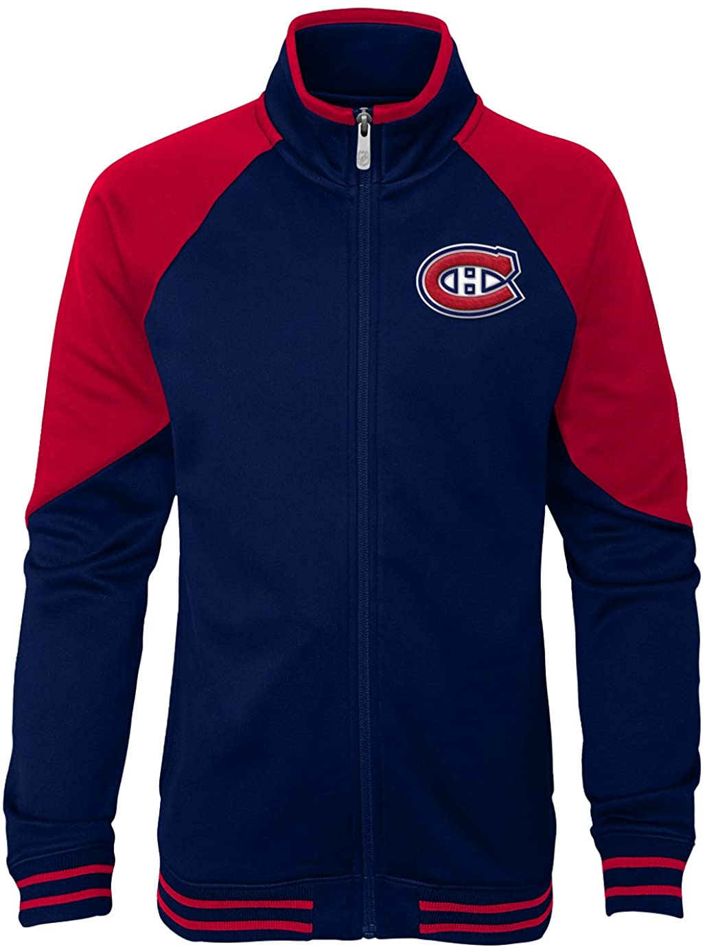 NHL Montreal Canadiens Youth Girls Faceoff Full Zip Jacket, Medium(10-12), True Navy
