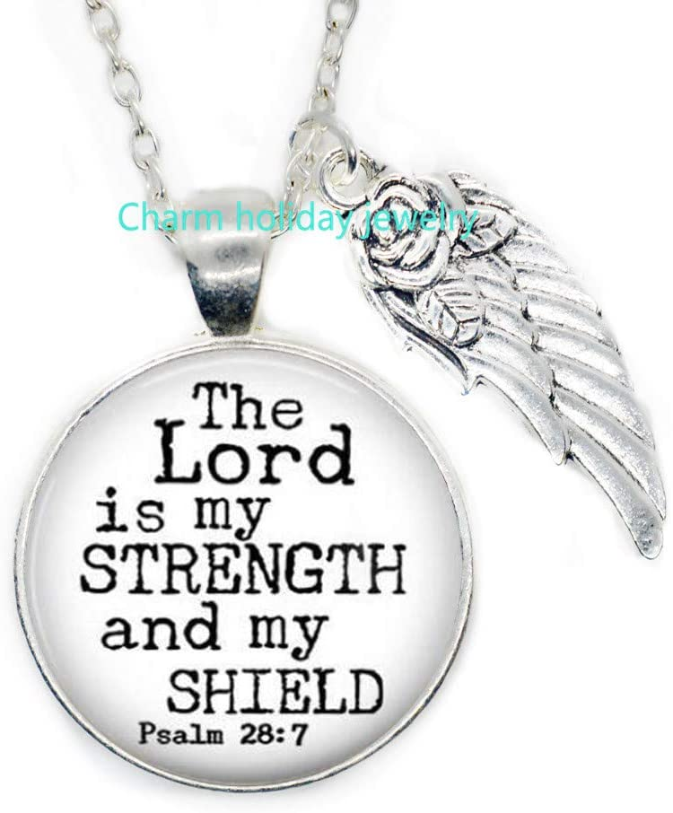 Charm holiday jewelry Scripture Necklace,Religious Quote Pendant,Bible Verse Necklace,The Lord is My Strength and My Shield Psalm 28:7,Christian Gift-#1